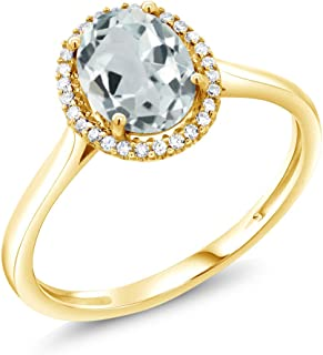 10K Yellow Gold Sky Blue Aquamarine and Diamond Women's Engagement Ring 1.10 Ctw Oval Available in (Available 5,6,7,8,9)