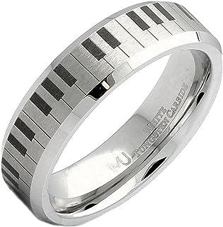 MJ Metals Jewelry Brushed White Tungsten Carbide Piano Keybo