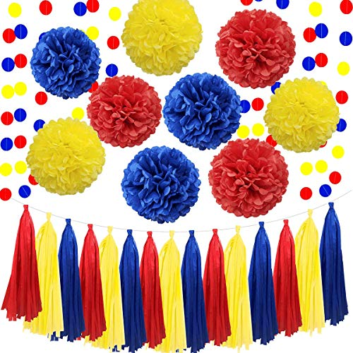 Carnival 26pcs Navy Blue Red Yellow Birthday Wedding Bachelorette Bridal Baby Shower Party Decoration Kit - 12' 10' 8' Tissue Paper Pom Pom, Paper Tassel, Circle Dot Garland