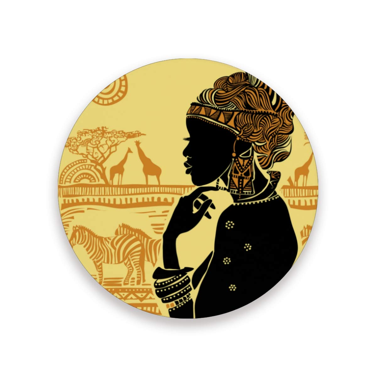 信頼性ハント困惑するコースター おしゃれ 茶パッド 美しいアフリカの女性 縞馬 キリン 滑り止め エコ 速乾 抗菌 消臭 1枚セット