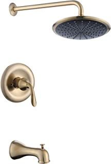 Derengge TS-A2008-CS Single Handle Anti-Scald Tub & Shower Faucet,with 9 Inch Showerhead,14 Inch Shower Arm and Spout,Meets UPC,cUPC,ASSE1016 Standard,Brushed Gold Finished