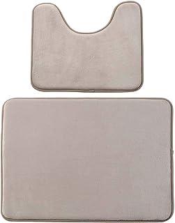 ESUPPORT Soft Absorbent Memory Foam Bathroom Mats Set 2pcs Non Slip Bath Mat, U Shaped Contour Rug Carpet, Beige