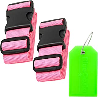 BlueCosto Luggage Strap Suitcase Straps Belts Travel Accessories, 2-Pack, Pink
