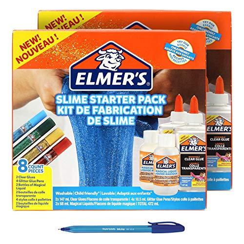 2 x Elmer's Slime Starter Pack Kit (2050943), Clear Glue, Glitter Glue Pens...