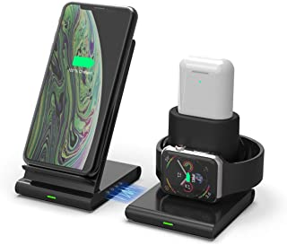 VR-robot Wireless Charger, 3 in 1 Charging Station for Apple Watch, Airpods, iPhone, with LED Indicator Separable Design, ...