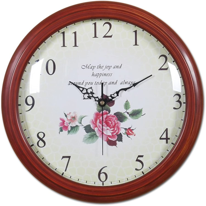 Wall clock bracket clock System clock hgoldloge hgoldlogium quartz clock crystal single-sided wall clock solid wood When the creative living room bedroom quiet fashion quartz watch-B 12inch