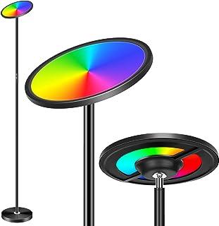 OHLUX Smart WiFi Rainbow LED Floor Lamp Music Sync 2000Lumen Touch Torchiere ، RGBCW Multicolor Dimmable ، شارژر USB ، با Alexa Home Home ، کنترل صدا برای خانه کار می کند