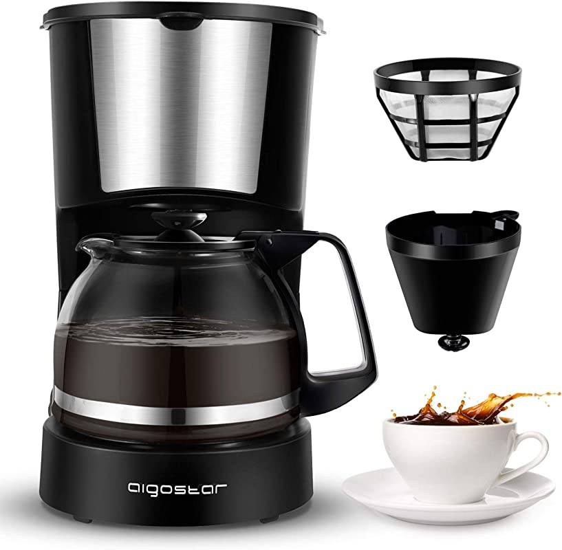 Aigostar Buck Coffee Makers 4 Cup Coffee Maker With Coffee Filter And Glass Carafe Small Drip Coffee Machines With Stainless Steel Decoration For Home Travel Office Black