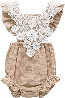 WOCACHI Toddler Baby Girls Romper Newborn Infant Bowknot Flutter Sleeve Ruffles Backcross Bodysuit Outfits