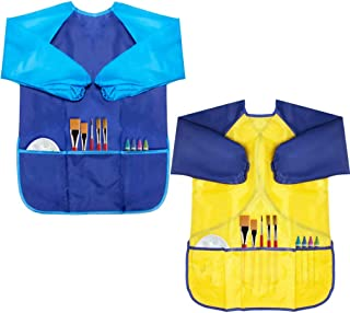 CUBACO Kids Painting Apron, 2 Packs Waterproof Art Smocks for Child 3-8 Years, Children Artist Apron with Long Sleeve and ...