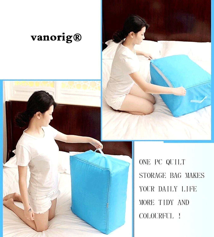 VANORIG Faltbar Quilt Tasche Decke Tasche Staubfrei, oxofrd Stoff Aufbewahrungsbeutel mit Doppelreißverschluss, 1 Stück, Textil, blau, 58L x 40W x 22H B00UYFYN18
