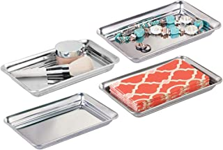 mDesign Metal Storage Organizer Tray for Bathroom Vanity Countertops, Closets, Dressers - Holder for Watches, Earrings, Makeup Brushes, Reading Glasses, Perfume, Guest Hand Towels - 4 Pack - Polished