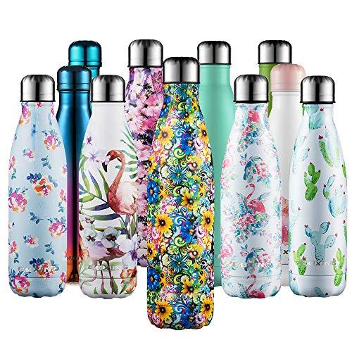 cmxing Doppelwandige Thermosflasche 500 mL / 750 mL mit Tasche BPA-Frei Edelstahl Trinkflasche Vakuum Isolierflasche (Gelb Blume, 750 mL)
