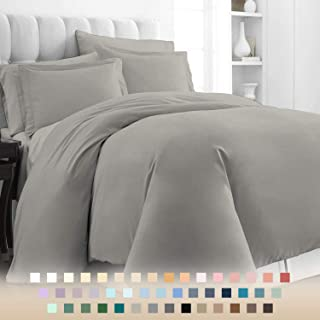 Pizuna 400 Thread Count Cotton Bed Set Duvet Cover Single Grey, Soft Luxurious Satin 100% Long Staple Cotton Gray Quilt Co...