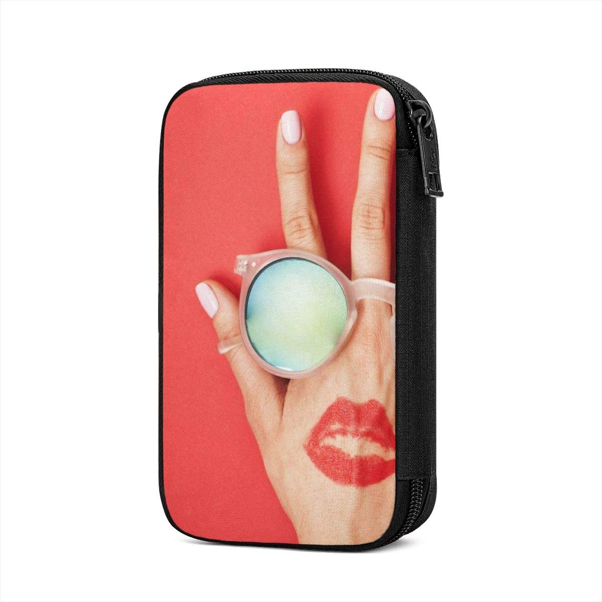 Osvbs Red Lips and Sunglasses On Hand Large discharge sale Electronic Back of The Attention brand
