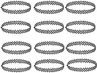 Tattoo Halskette Schwarz – ZWOOS 12 Stück Gummi Halsband Henna Tattoo Halskette Kette Choker Stretch Gothische Elastische Set