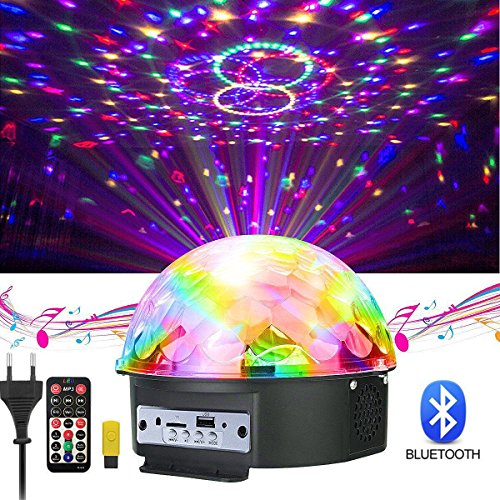 GUSODOR Discokugel LED Lichteffekte Bluetooth MP3 Musik Player RGB Sprachaktiviertes Kristall Magic Ball Bühnentechnik für Show Disco KTV Stab Stadium Club Hochzeit Geburtstag