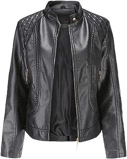 FYXKGLa Women's Leather Jacket Slim Leather Jacket OL Temperament Collar Leather Jacket Retro Motorcycle Leather Jacket (Color : Black, Size : XXXXL)