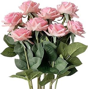 Artificial Rose Fake Flowers 8pcs Silk Flowers Rose Arrangement for Home Bridal Wedding Party Festival Decor (Pink)