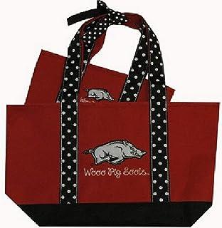 NCAA Arkansas Razorbacks Polka Dot Handle Tote Bag (2 Piece), One Size, Multicolor