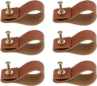 Flameer 6x Handmade Leather Cabinet Door Handle Pulls Knob Dresser Drawer Door Handle Kitchen Pulls Knob