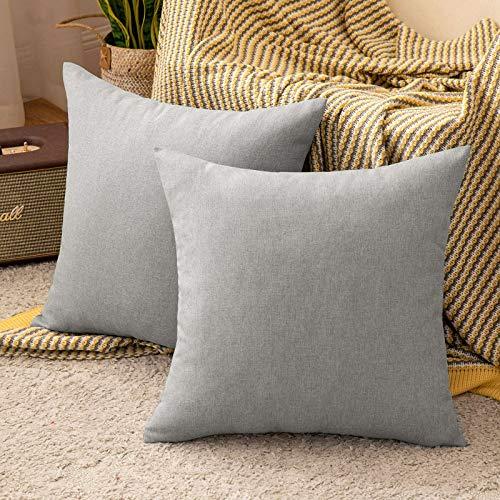 MIULEE 2er Set Kissenbezug aus Baumwolle Leinen-Optik Dekorative Sofakissen Dekokissen Moderne Kissenhülle für Outdoor Sofa Wohnzimmer Schlafzimmer Bett 50x50 cm Hellgrau