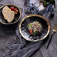 セラミック料理 フルーツサラダプレート家庭用品の西ヨーロッパのセラミックディスクステーキ円形フラットプレート (Color : 8 in)
