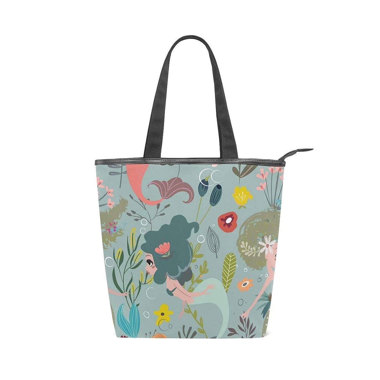 逸脱マティスポケットキャンバスバッグ トートバッグ ハンドバッグ 手提げ 人魚 水彩絵 大容量 通勤通学 メンズ レディース