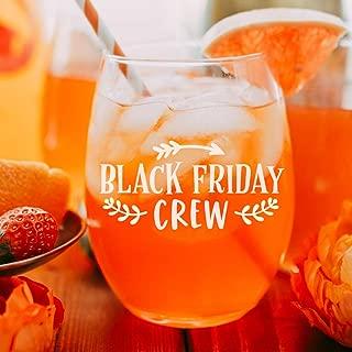 Black Friday Crew Wine Glass - Thanksgiving Funny Wine Glass Autumn Wine Glass Custom Wine Glass with Quote Cute Thanksgiving Wine Glass with Saying
