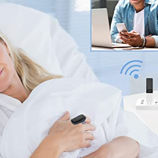 Wellue Oxylink Remote Sleep Health Monitor Bluetooth with WiFi Stick for Real Time Monitoring, Portable HR Tracker Audible Reminder Free APP for Adults Rechargeable
