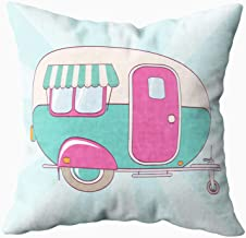 EMMTEEY Decorative Pillow Covers,16x16 Inch Pillow Covers Home Throw Pillow Covers Cute Pink and Turquoise Camper on a Striped Print on Fabric Clothes Papers and Posters Square Double Sided,Pink Blue