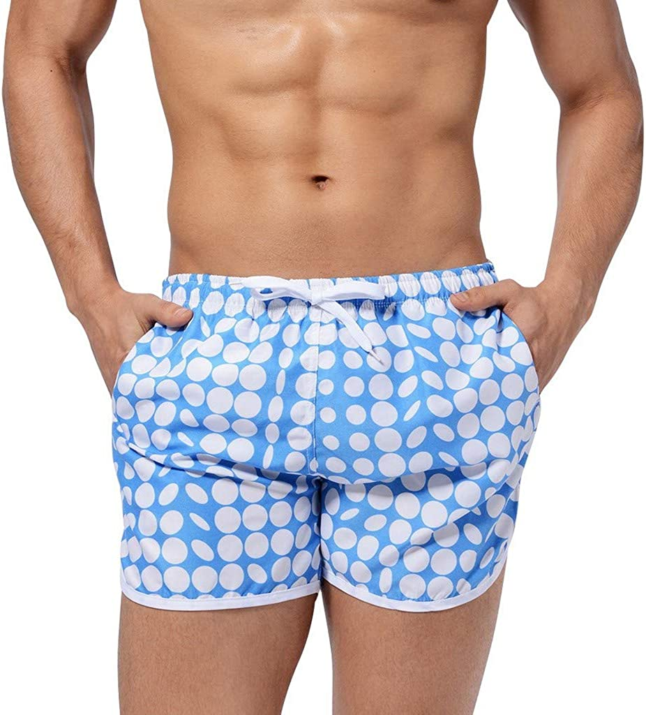 DIOMOR Mens Fashion Polka Dot Drawstring Swim Trunks Beach Elastic Waist Breathable Quick Dry Shorts Sea Athletic Pants