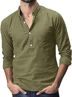 JOYFEEL Mens Dashiki Shirt African Print Stand Collar Long Sleeve Henley Shirts Button Blouses Tops