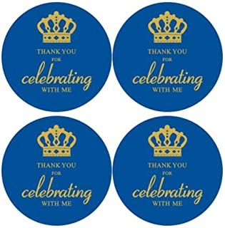 """2"""" Round 50 Pack Crown Thank You Label Stickers Birthday Party Sticker Labels Candy Stickers for Birthday Party Baby Showe..."""
