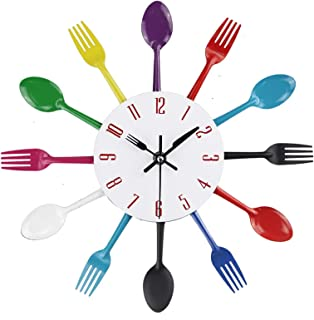 キッチンダイニングルーム用の創造的な装飾的な壁時計、12インチのモダンなメタルクォーツ時計スプーンフォーク家の装飾