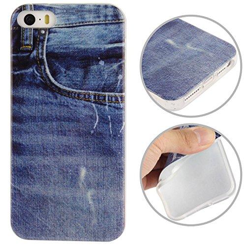 SmartProtectors! Premium Softcase TPU / Schutzhülle für iPhone SE / 5S / 5 S / 5 / Blue Jeans Style blau