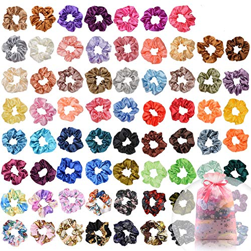 Price comparison product image 70 Pcs Hair Silk Scrunchies Satin Elastic Hair Bands Scrunchy Hair Ties Ropes Scrunchie for Women Girls Hair Accessories with Gift bag