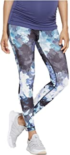 Women's Maternity Floral Print Active Leggings with Crossover Panel - Lilac -