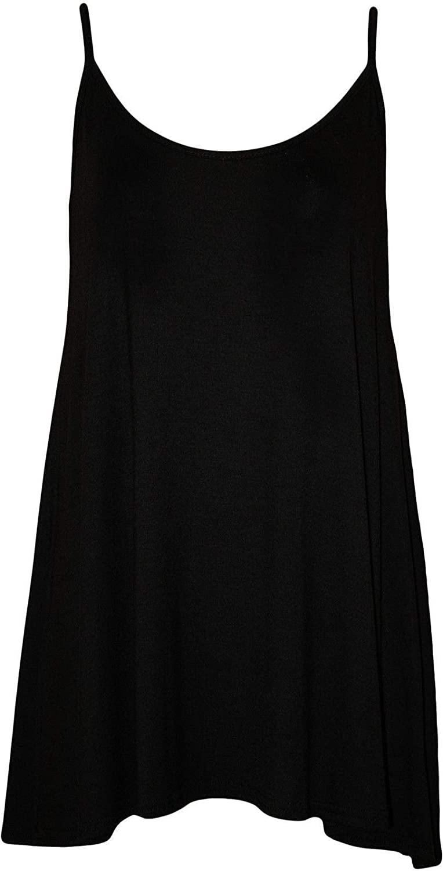 BODYWEAR LTD Plus Size Womens Plain Strappy Sleeveless Ladies Swing Cami Vest Top