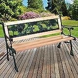 Marko Outdoor Kids Garden Bench Metal Ornate Design Wooden 2 Seater Childrens Patio Chair Seat