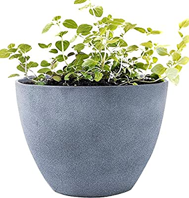 """Large Planter Outdoor Flower Pot, Garden Plant Container with Drainage Holes (Weathered Gray, 14.2"""")"""