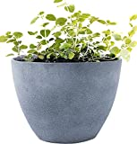 Large Planter Outdoor Flower Pot, Garden Plant Container with Drainage Holes (Weathered Gray, 14.2')