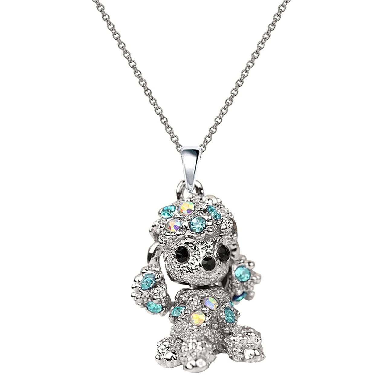 NC067 Cute 3D Blue Crystal Poodle Puppy Pet Charm Pendant Necklace
