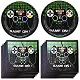 Popular Video Game Themed Party Supplies Set Disposable Plates- Video Game Cake Plates and Napkins Children's Birthday Party Decorations for Boys Girls and Baby Shower 16 serves