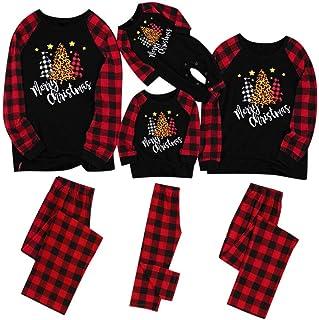 Pijamas de Navidad Familia, Ropa de Noche Homewear para Papá Mamá Niños Bebé cálidos Pijama Twosie Set Imprimir Blusas y Pantalones Familia Conjunto riou