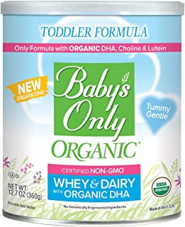 Baby's Only Dairy Whey Protein with DHA Toddler Formula - Non GMO, USDA Organic, Clean Label Project Verified, 12.7 Ounce (Single Can)