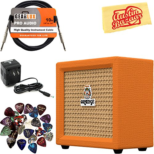 Orange Crush Mini Guitar Combo Amplifier Bundle with Power Supply, Instrument Cable, 24 Picks, and...