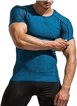 Heren T-shirt, ronde hals, korte mouwen, compressie, slim nauwsluitend, sneldrogend, voor hardlopen, heren, sport, korte m...