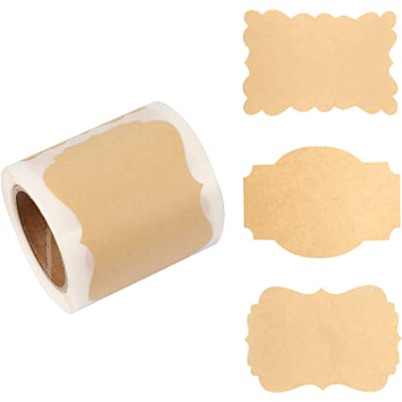 150x Kraft Sticker Paper Labels Blank Christmas Gift for Jar Candle Glass Bottle