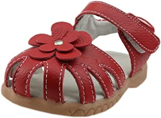 Girls Shoes Genuine Leather Soft Flower Princess Flat Shoes Girl Summer Sandals Closed Toe Children Shoes